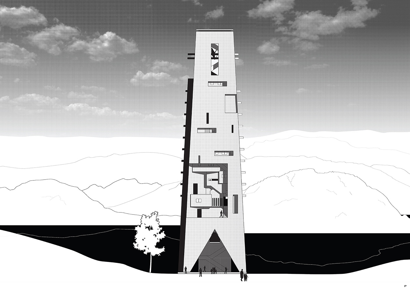 Tårnet i landskapet i tårnet, AFK, Arkitektur, Arkitekt, Knut Folstad, Tårn, Godalen, Stavanger, DNT, Turisthytte, Konsept, Betong, Silo, Fjell, Gandsfjorden